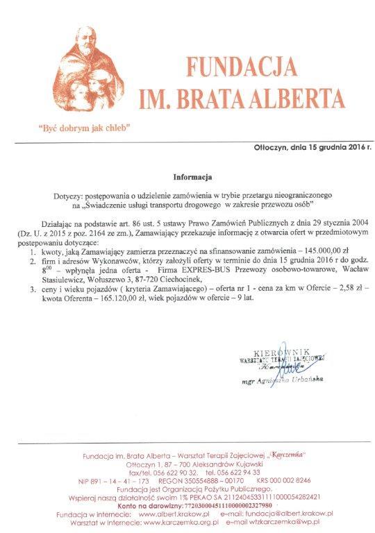 Informacja dotycząca postępowania 15 XII 2016